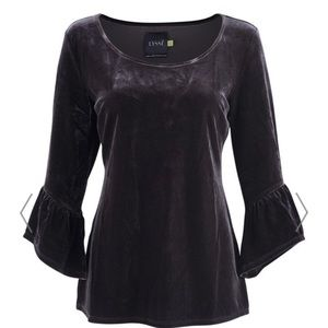 Lysse Remy Velvet Bell Sleeve Top Purple Sz XL